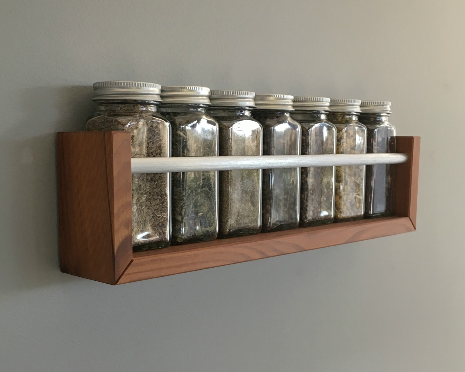 Wall Modern Spice Rack of Reclaimed Medium Tone Wood with Brushed Metal  Front Bar, For Seven Jars