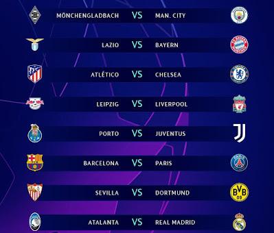 تعرف على مواعيد مباريات ثمن نهائى دوري أبطال أوروبا