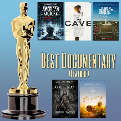 American Factory, Honeyland, For Sama, The Cave, and The Edge of Democracy Oscars movie posters