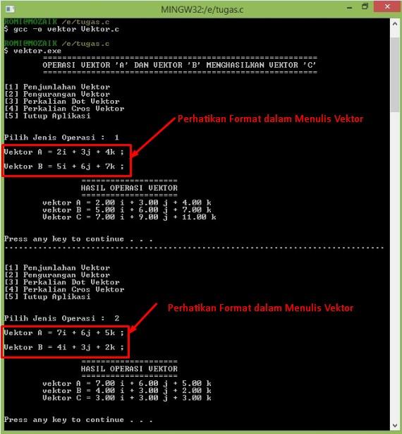 Program Kalkulator Vektor Sedehana Menggunakan Bahasa C
