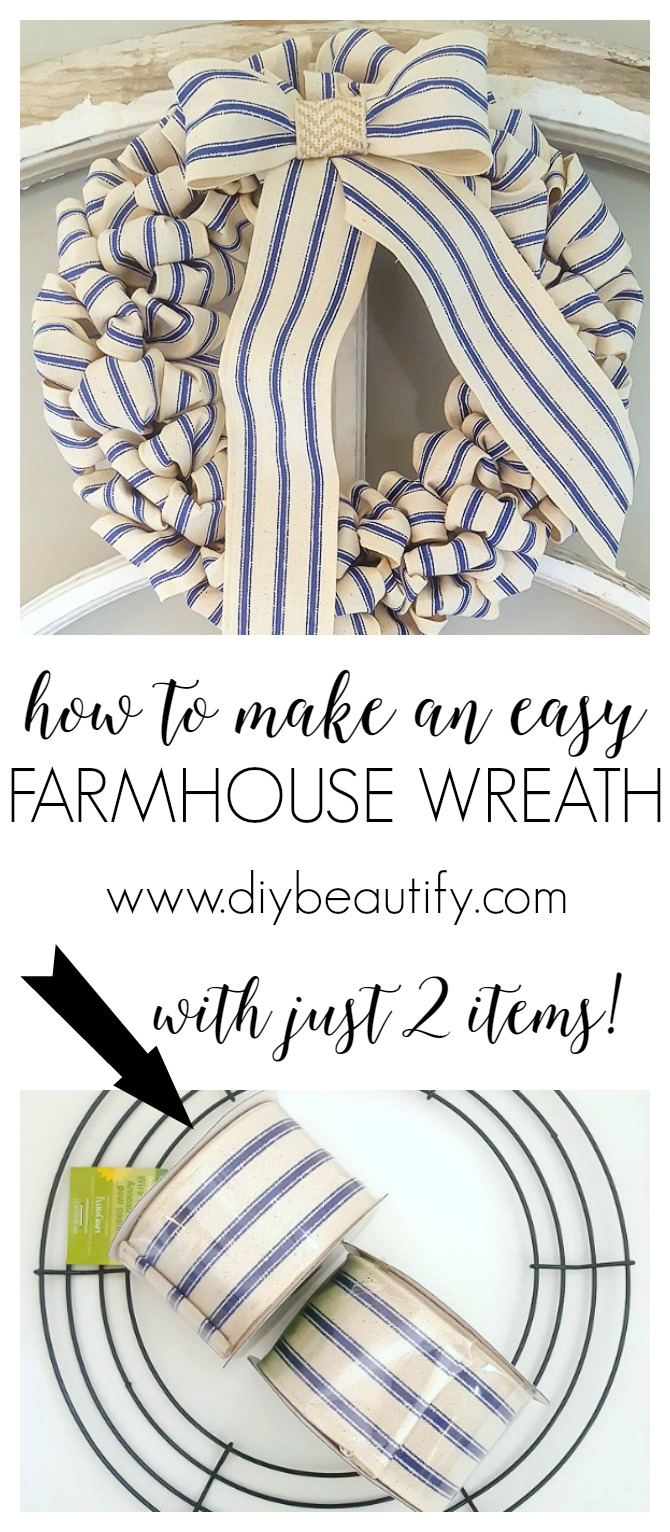 inexpensive ticking stripe wreath