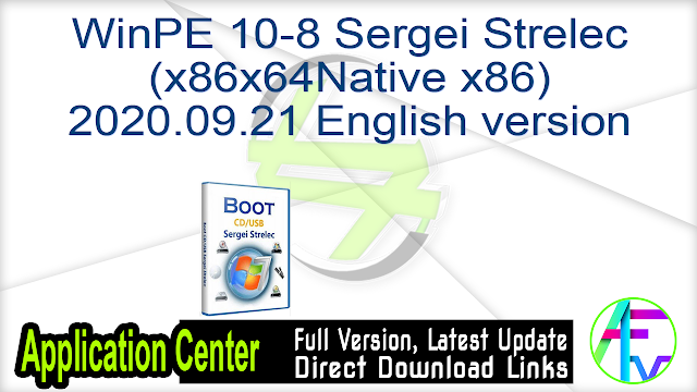 WinPE 10-8 Sergei Strelec (x86x64Native x86) 2020.09.21 English version