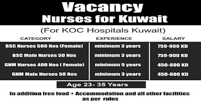 NURSES VACANCIES FOR KOC HOSPITALS - KUWAIT