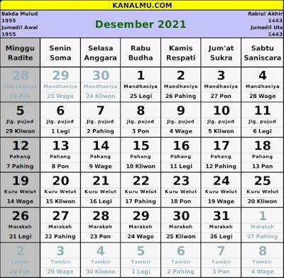 kalender desember 2021 lengkap jawa hijriyah