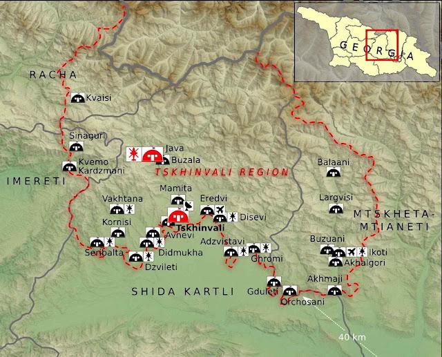 Mapa da 'República de Ossétia do Sul' com as bases militares russas em 2015.