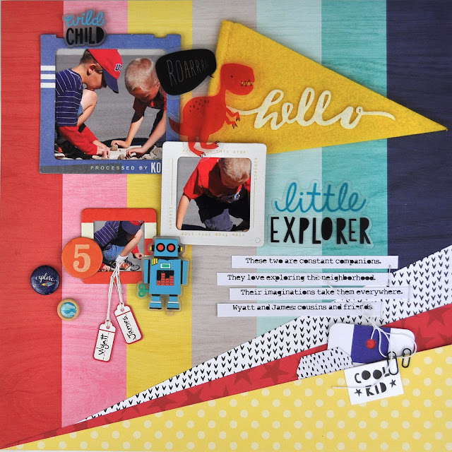 """Little Explorer"" Scrapbooking Process Video with Jen Gallacher from www.jengallacher.com. #scrapbooking #scrapbookprocess #jengallacher"