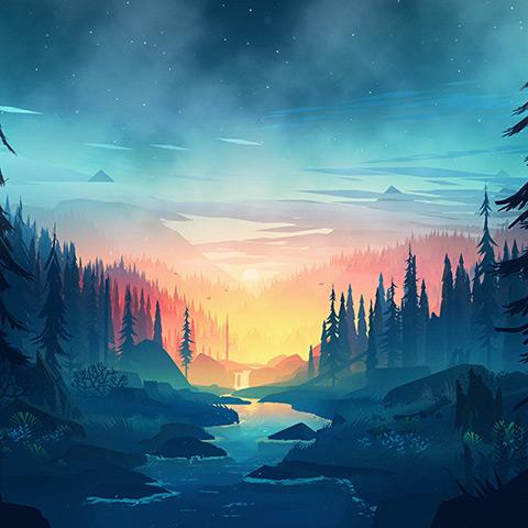 Calm, Minimal Forest Scene Wallpaper Engine
