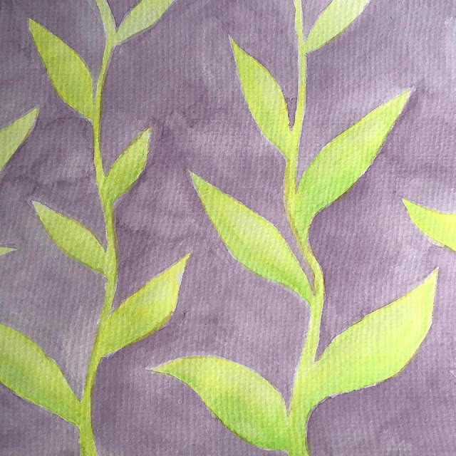 Green leaves on purple background - watercolor sketch by Boriana Giormova