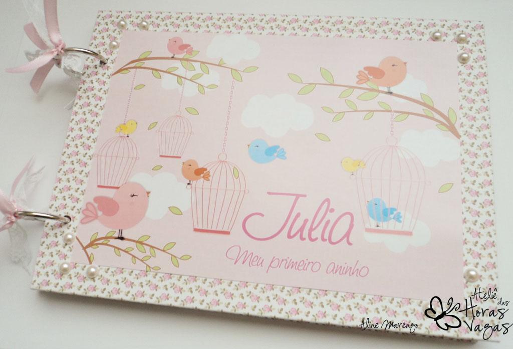 livro de mensagens aniversário 1 aninho infantil passarinho provençal floral artesanal