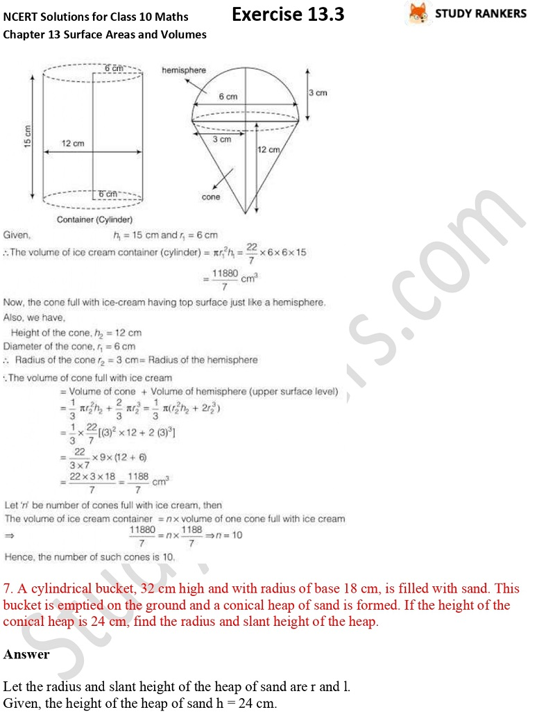 NCERT Solutions for Class 10 Maths Chapter 13 Surface Areas and Volumes Exercise 13.3 Part 5