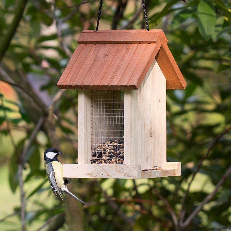 Comedero para Pájaros Colgante en Forma de Casa, Madera, Beige,