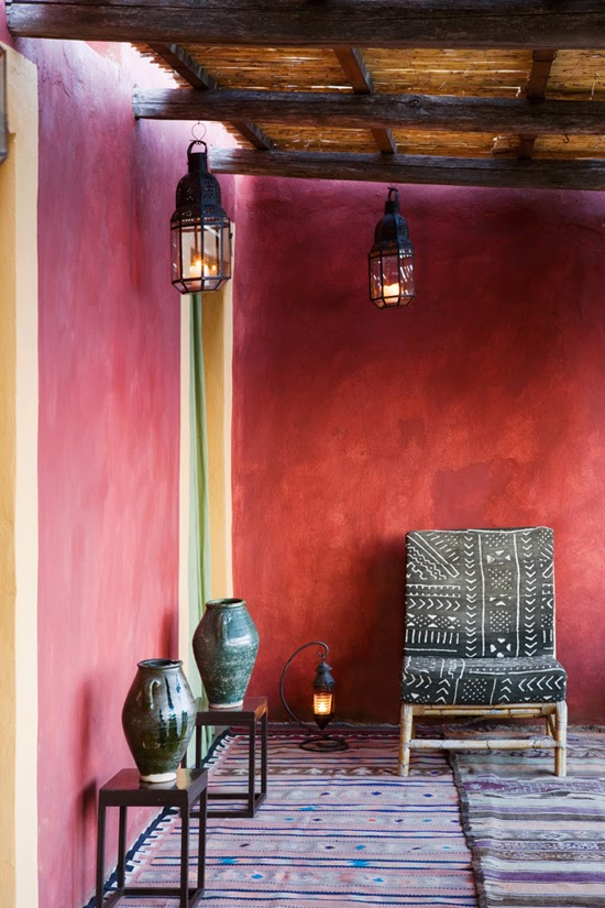 Safari Fusion blog   Obsession: Mud cloth   Vintage Bogolan textile chair, Fabio House, Filicudi Island, Sicily Italy via photographer Adriano Bacchella