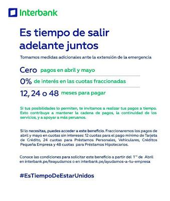 Interbank congela deudas de abril y mayo sin intereses
