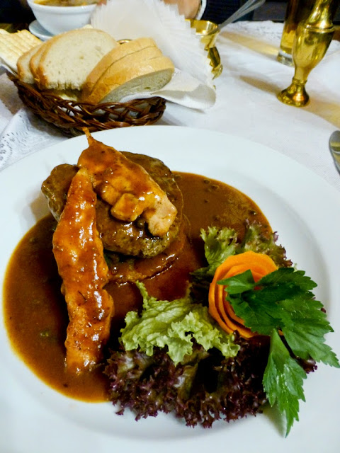 Solomillo y espinacas, Restaurante Ariel, Cracovia