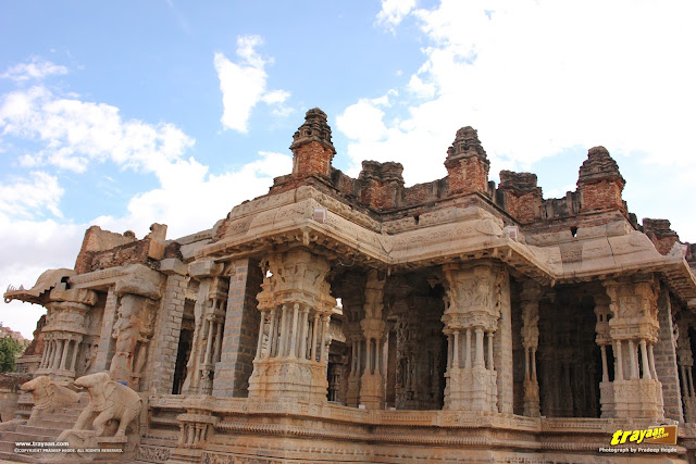 A view of Hampi Vitthala Temple mahamandapa, with deteriorating brick and plaster parapets above it