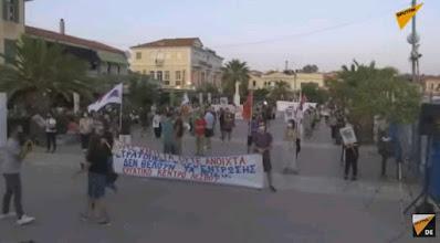 20 Demonstranten auf Lesbos
