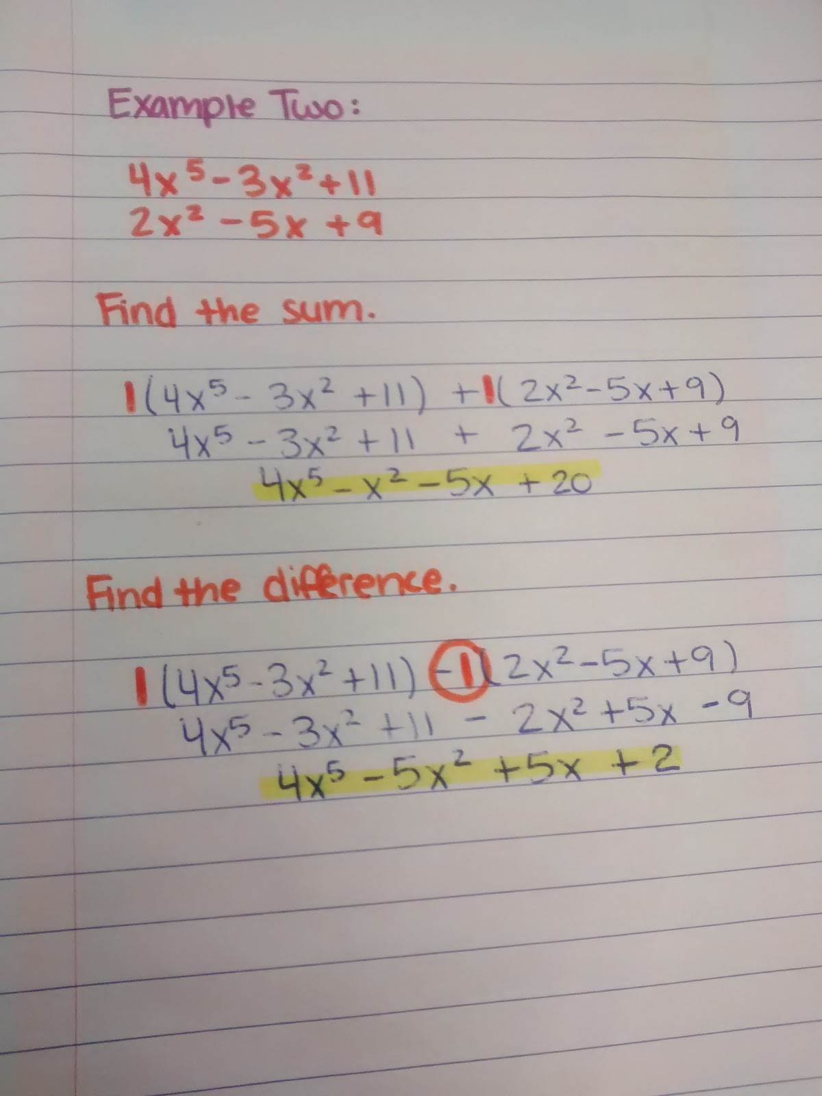 Math Love Adding And Subtracting Polynomials Notes