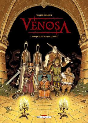 couverture de Vénosa T1 Cinq Cadavres sur le Pavé de Olivier Milhiet chez Delcourt