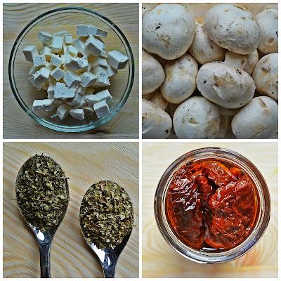 Pieczarki faszerowane fetą i suszonymi pomidorami