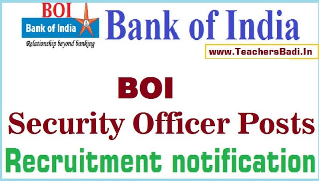 BOI,Bank of India, Security Officers Recruitment
