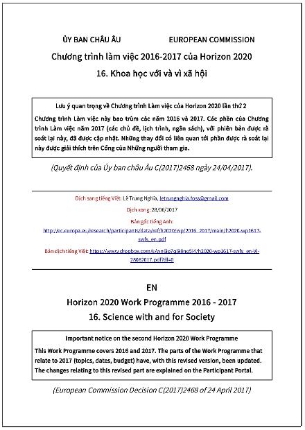 Chương trình làm việc 2016-2017 của Horizon 2020 - Phần 16: Khoa học với và vì Xã hội - bản dịch sang tiếng Việt