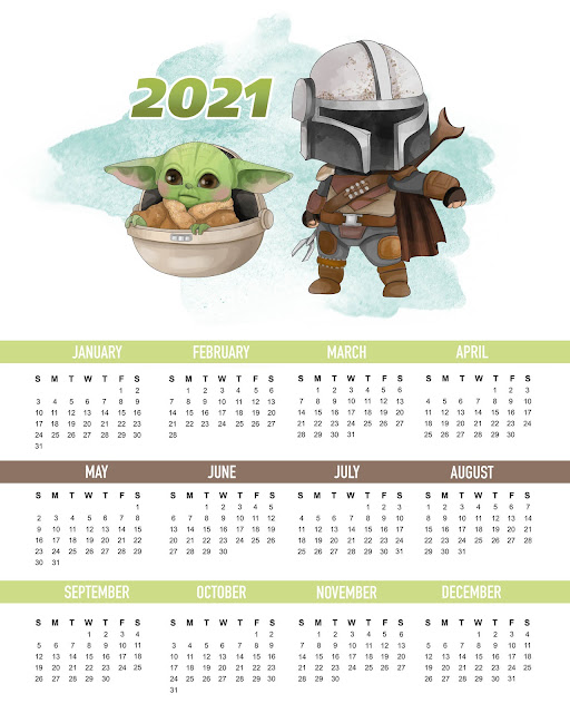 Baby Yoda Free Printable 2021 Calendar.