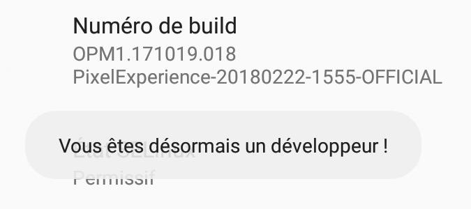 Activation options pour les développeurs Android 8 et 9