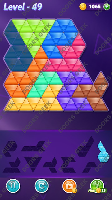 Block! Triangle Puzzle 9 Mania Level 49 Solution, Cheats, Walkthrough for Android, iPhone, iPad and iPod