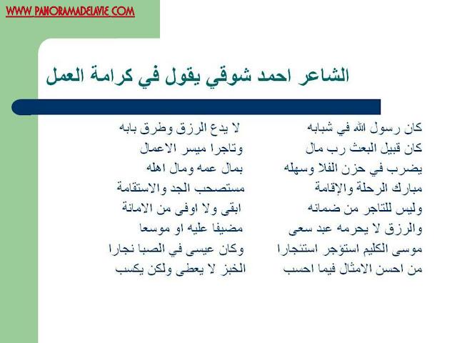 الشاعر احمد شوقي حول العمل