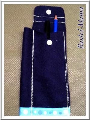 Stiftetasche Filz blau geöffnet