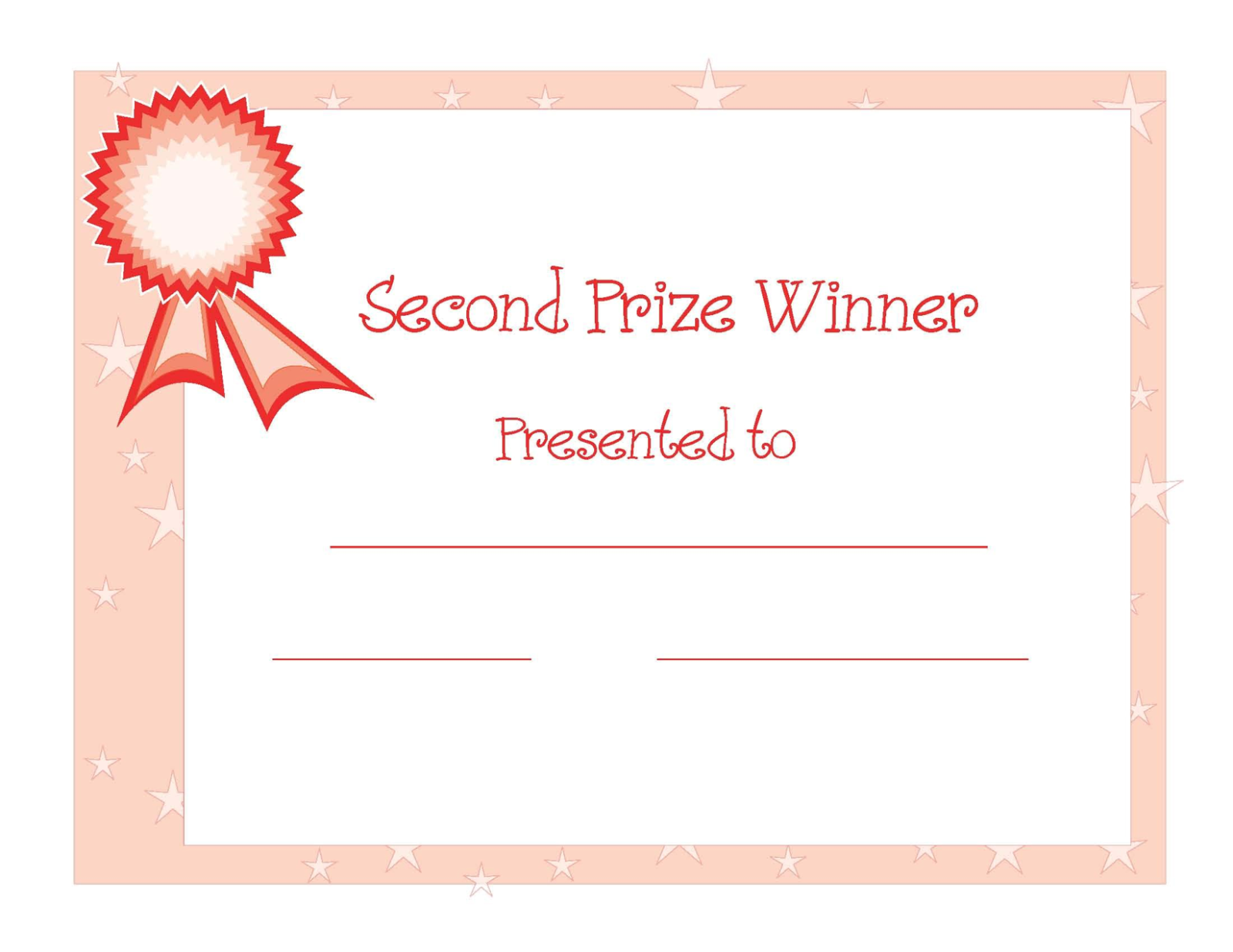 Blank 2nd place winner certificate template apa templates blank 2nd place winner certificate template yadclub Images