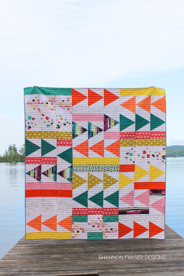 Geometrical Flight Plan Quilt | Modern Quilt Pattern | Shannon Fraser Designs #trianglequilt #quiltsinthewild