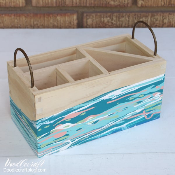 Acrylic Pouring Abstract Painting in teals, blues and blush poured on Organizer Caddy DIY perfect for filling with utensils or school supplies