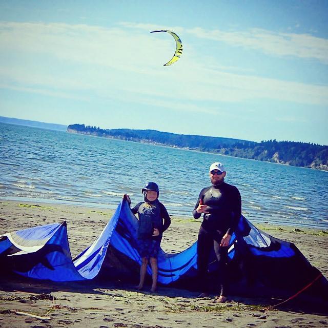 Kiteboarding At Jetty Island In Everett, Wa