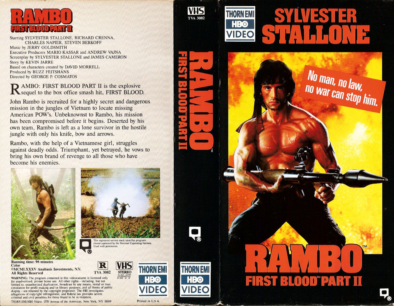 Basement Of Ghoulish Decadence Rambo First Blood Part Ii 1985 Thorn Emi Hbo Video Vhs Black Border Variant