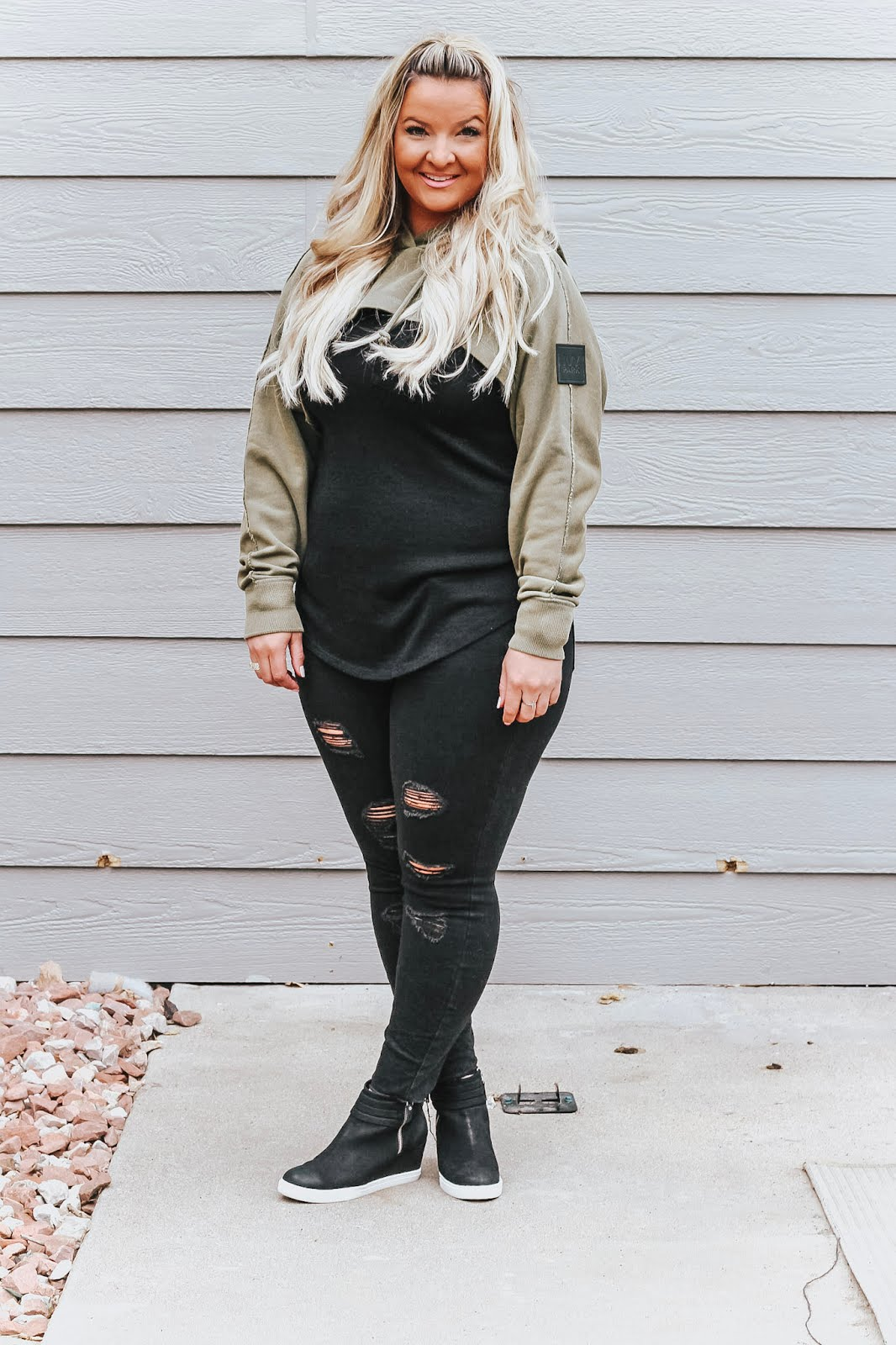 Cutaway Ivy Park Hoodie styled by popular Denver fashion blogger, Delayna Denaye