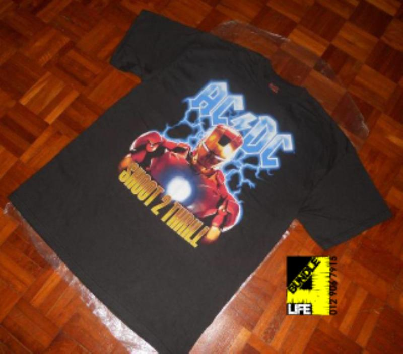 "1f2f3462 item: AC/DC+Iron Man 2 - Shoot to Thrill shirt size: L measurements: 21""  Width x 29"" Length tag/brand: AC/DC - Iron Man 2 (made in EL SALVADOR)"