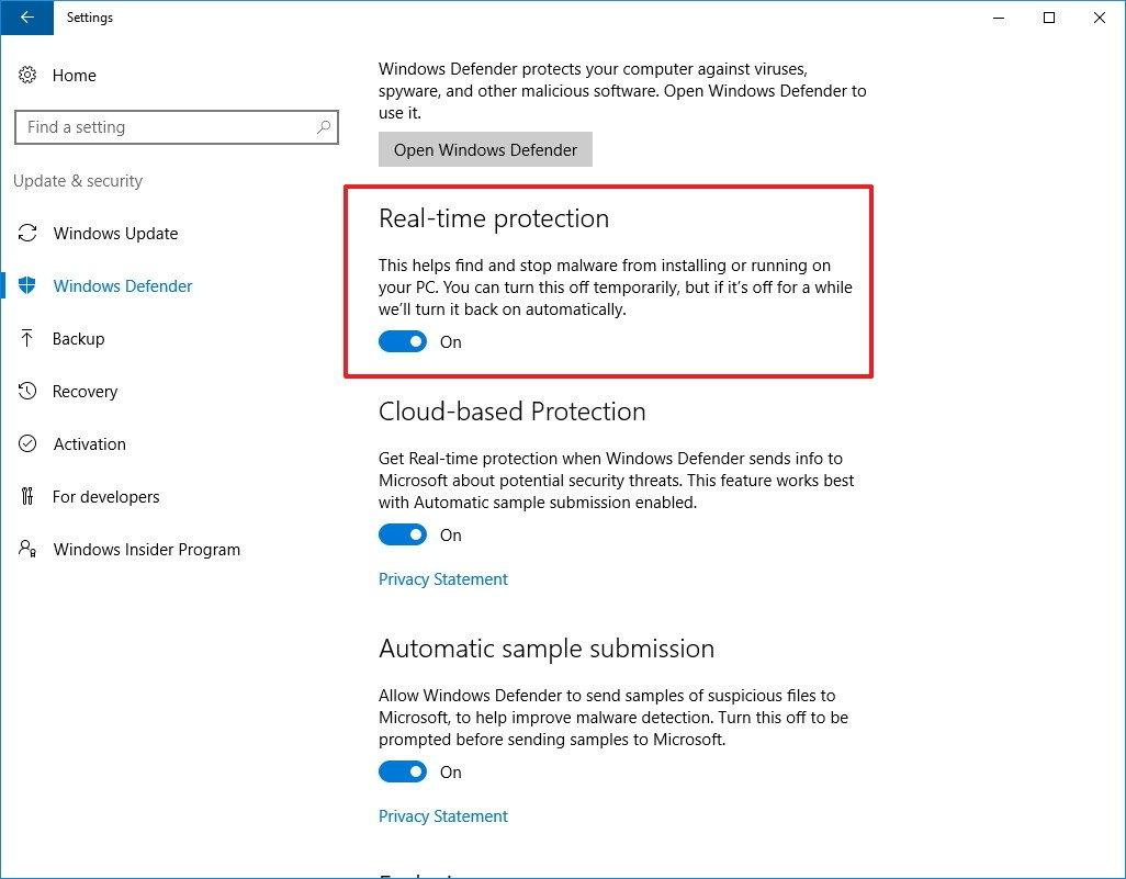 Sử dụng Settings để tạm thời tắt đi Windows Defender