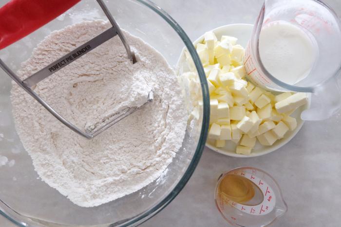 prepping buttermilk crust ingredients