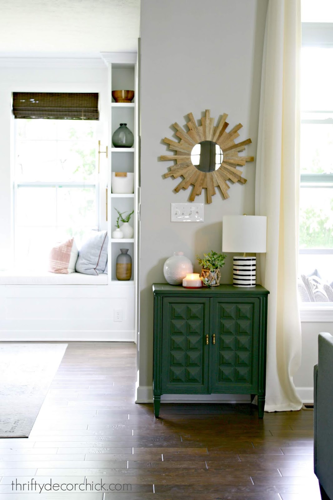 Green vintage cabinet family room