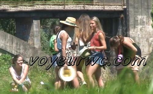 Girls Gotta Go 26 (Drunk Spanish girls pissing on hidden camera in the bushes)
