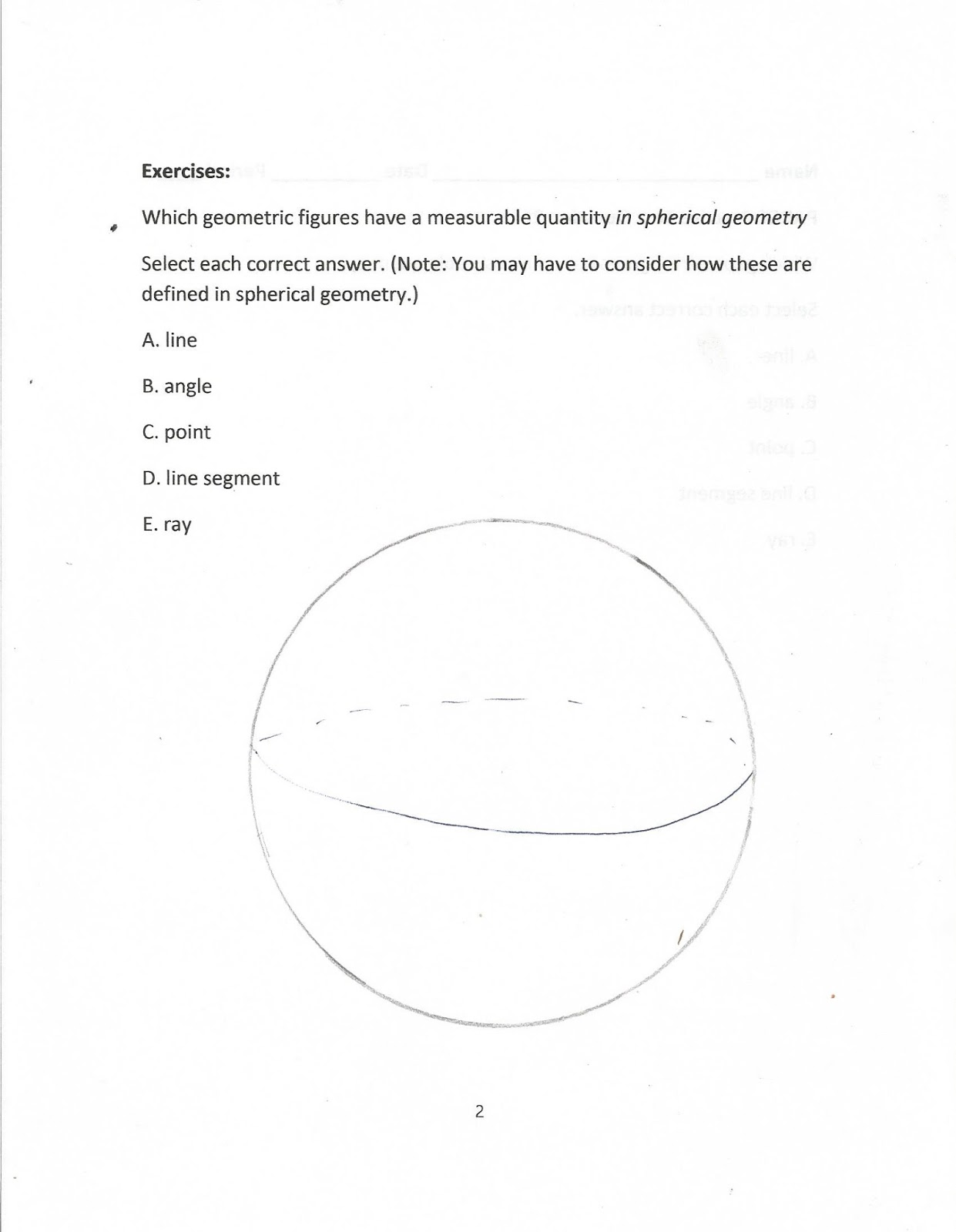 Some Authors Define A Ray In Spherical Geometry To Be Half Of A Great  Circle,