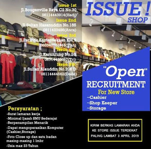 Lowongan Kerja di Issue Shop Makassar