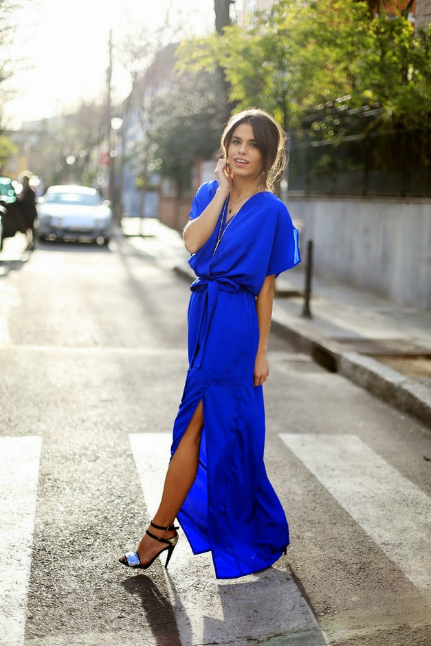 Wearing a Cobalt Blue Elegant Maxi Dress for Wedding as Guest