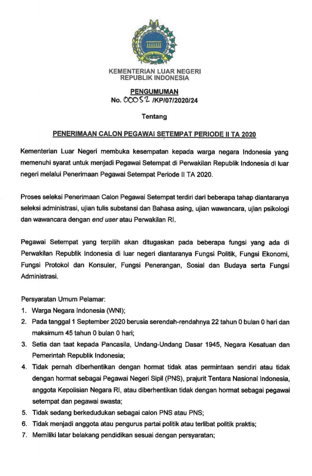 Lowongan Kerja Pegawai Setempat Kementerian Luar Negeri Republik Indonesia Agustus 2020