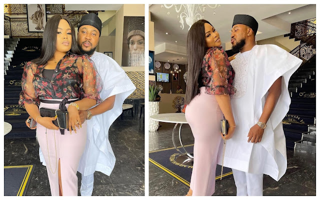 Thank you for accepting all my rubbish– Actor Babarex and his wife celebrates their 6th wedding anniversary (Photos)