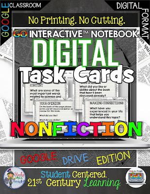These nonfiction task cards are great for your 4th, 5th, 6th, 7th, 8th, 9th, 10th, 11th, or 12th grade students to get more nonfiction or informative reading and writing skills in! Click through to learn more and get your own copy today!