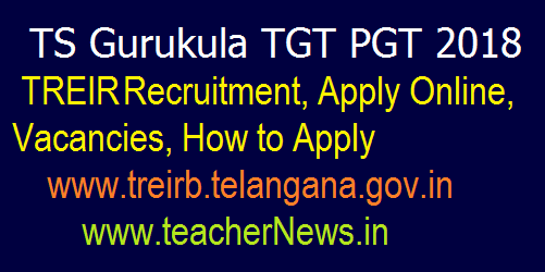 TS Gurukula PGT 2018 Recruitment, Apply Online, Vacancies @www.treirb.telangana.gov.in