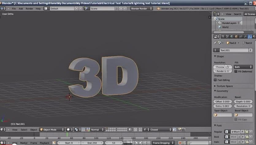 คลิปสอนเทคนิควิธีการทำแอนิเมชั่นตัวอักษร3Dเป็นแสงไฟสีและช็อต