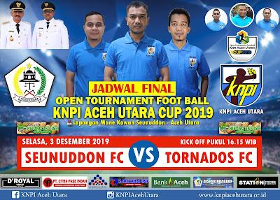Seunuddon FC Vs Tornadoes FC Berlaga Sore Ini di Final Piala KNPI Aceh Utara